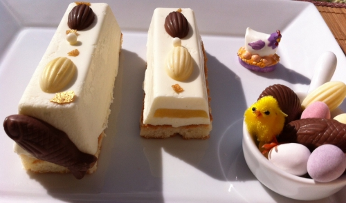 entremets, lingots, guy demarle, mangue, coulis de mangue gélifié, financier, mousse chocolat blanc ivoire, fritures chocolat valrhona