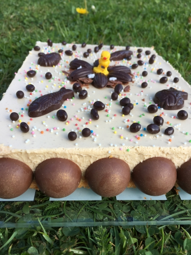 entremets,financier,pralin,mousse,dulcey,valrhona,chocolat,pâques