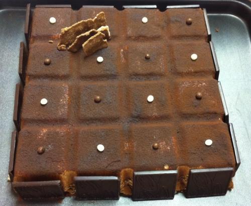 entremets,dacquoise noix,feuillantine,praliné, tablette, mousse caramelia,valhrona,cacao,guimauve,chamallow