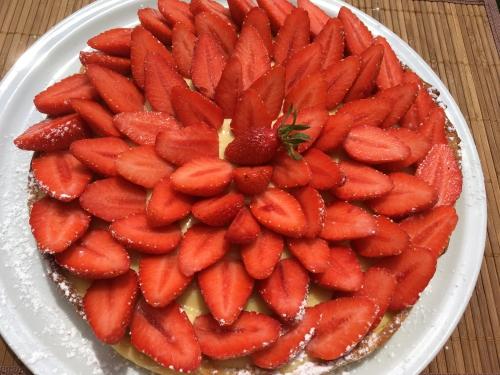 tarte aux fraises,tarte,fraise,fraises,pâte sucrée,pâte sablée,crème pâtissière,vanille,thermomix
