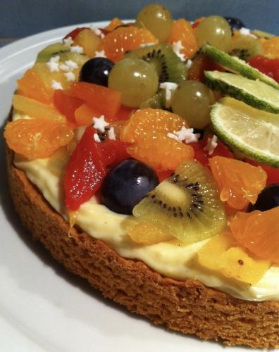 sable breton, creme madame, fruits exotiques, papaye, raisin, clémentine, kiwi