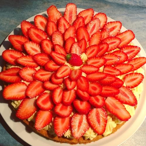 dessert, tarte, fraise, crème diplomate, tarte aux fraises